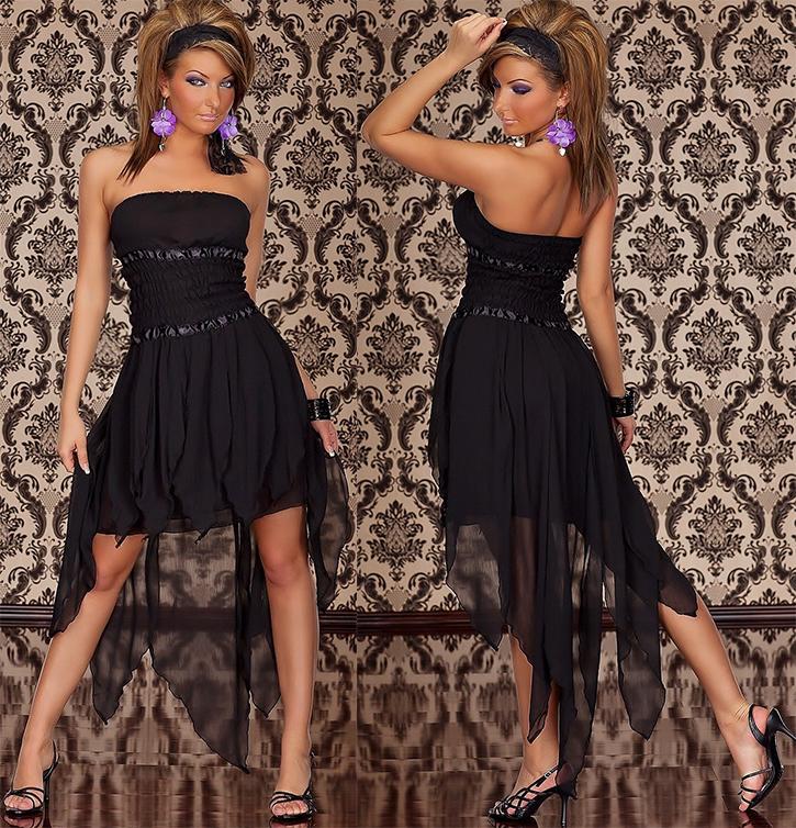 Sexy Vokuhila - Kleid Schwarz 34 36 38 Chiffonkleid ...