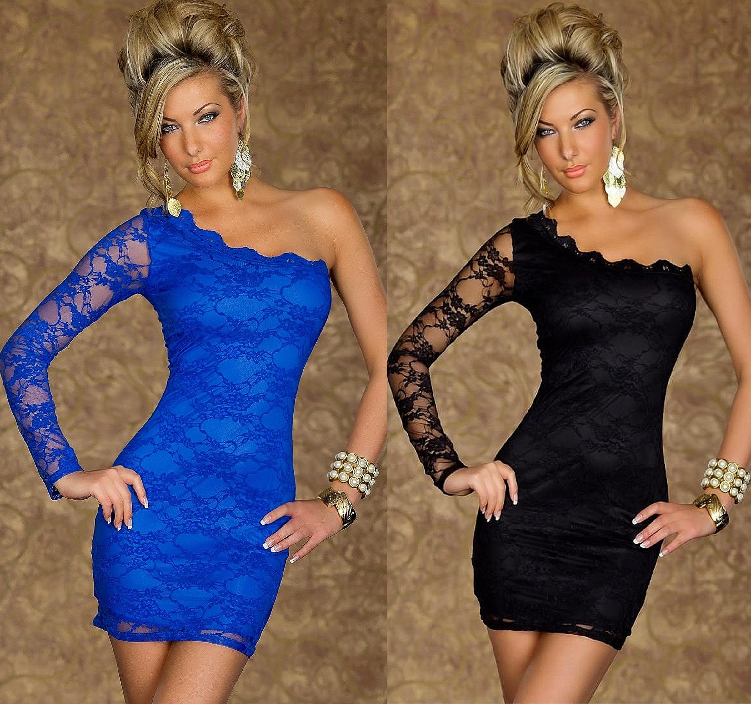 Blaues kleid mit spitze ebay