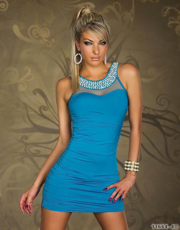 kleid minikleid abendkleid netz spitze perlen t rkis blau. Black Bedroom Furniture Sets. Home Design Ideas