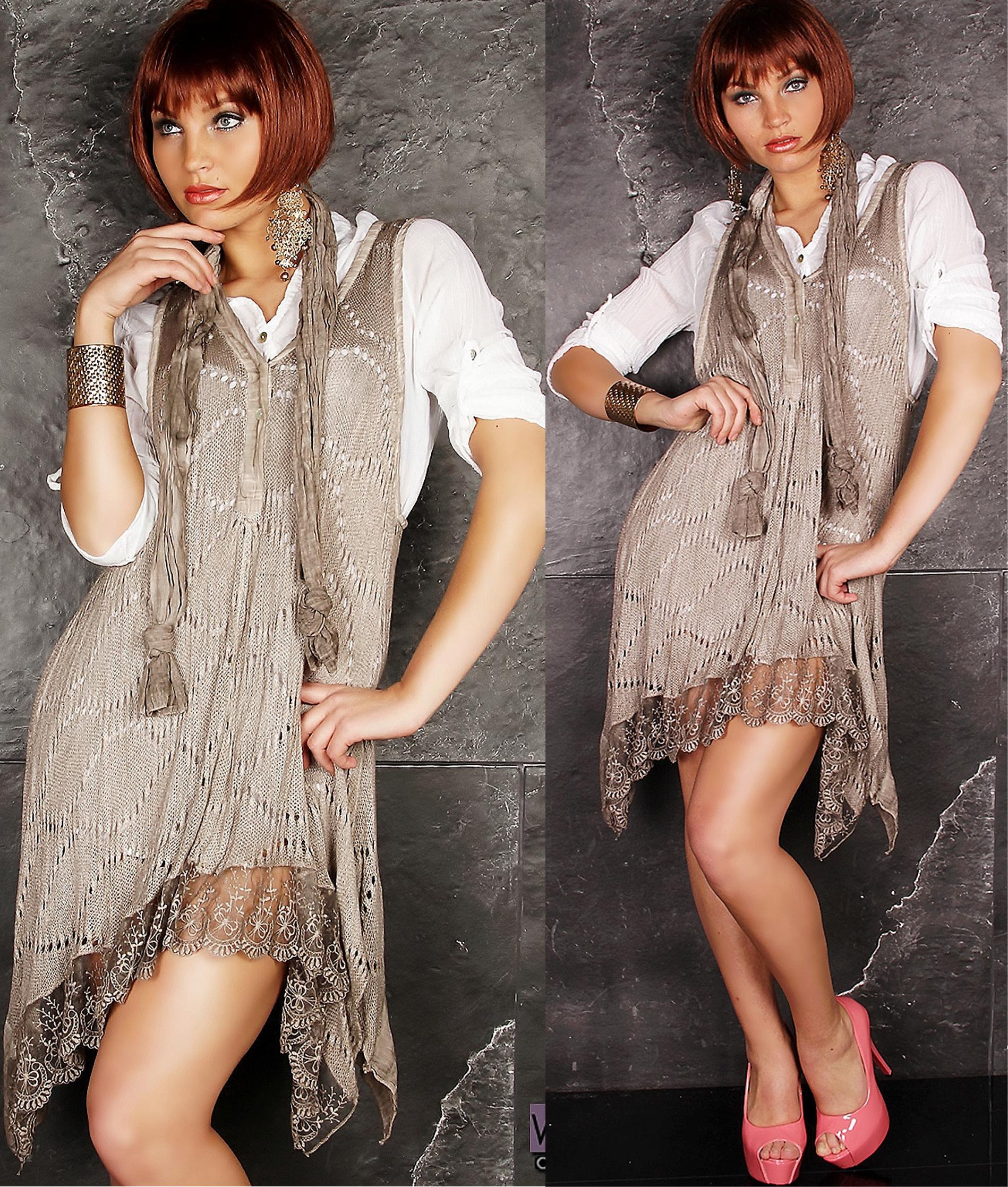 kleid minikleid spitze 3 tlg zipfel tunika weste vokuhila bluse schal beige s m ebay. Black Bedroom Furniture Sets. Home Design Ideas